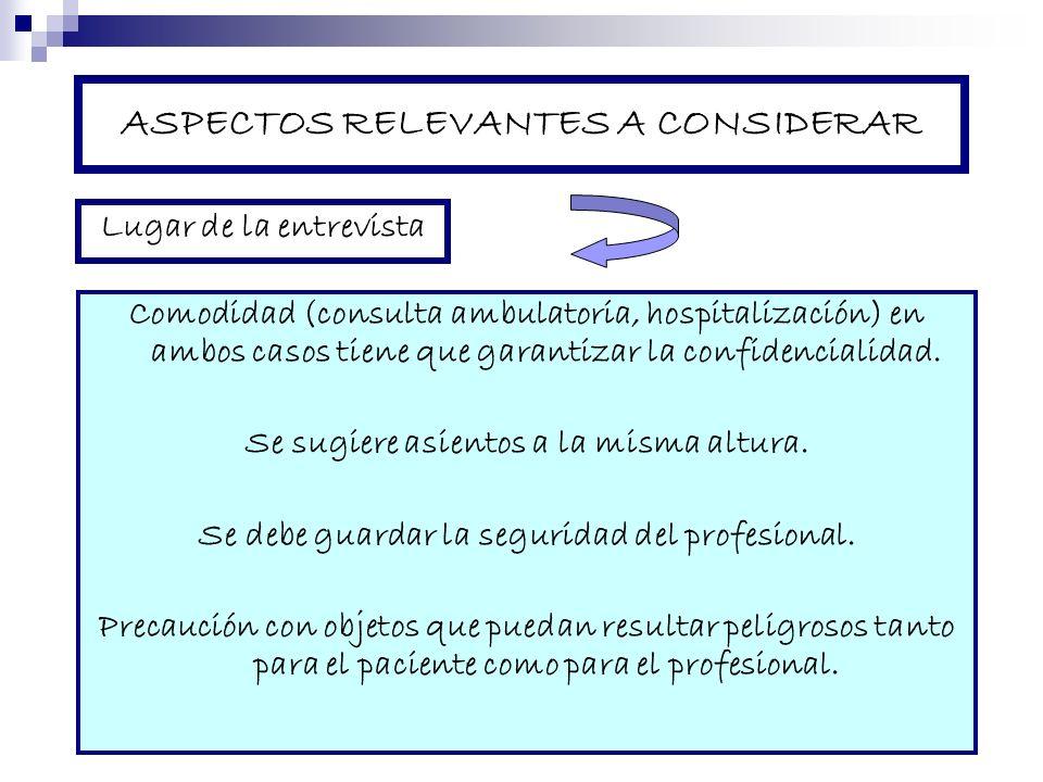 ASPECTOS RELEVANTES A CONSIDERAR Comodidad (consulta ambulatoria, hospitalización) en ambos casos tiene que garantizar la confidencialidad. Se sugiere