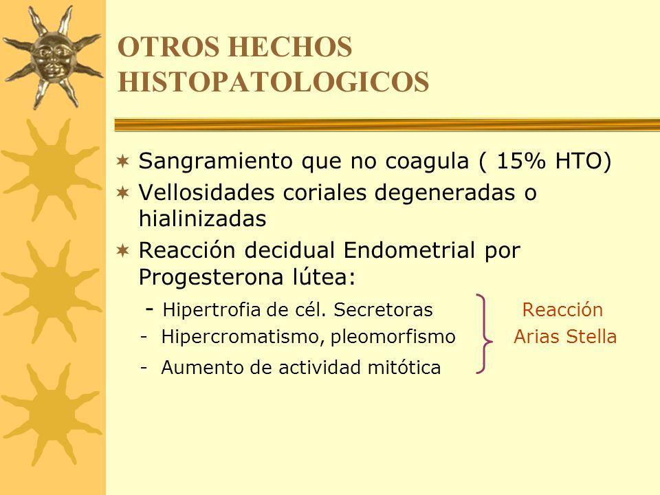 OTROS HECHOS HISTOPATOLOGICOS Sangramiento que no coagula ( 15% HTO) Vellosidades coriales degeneradas o hialinizadas Reacción decidual Endometrial po