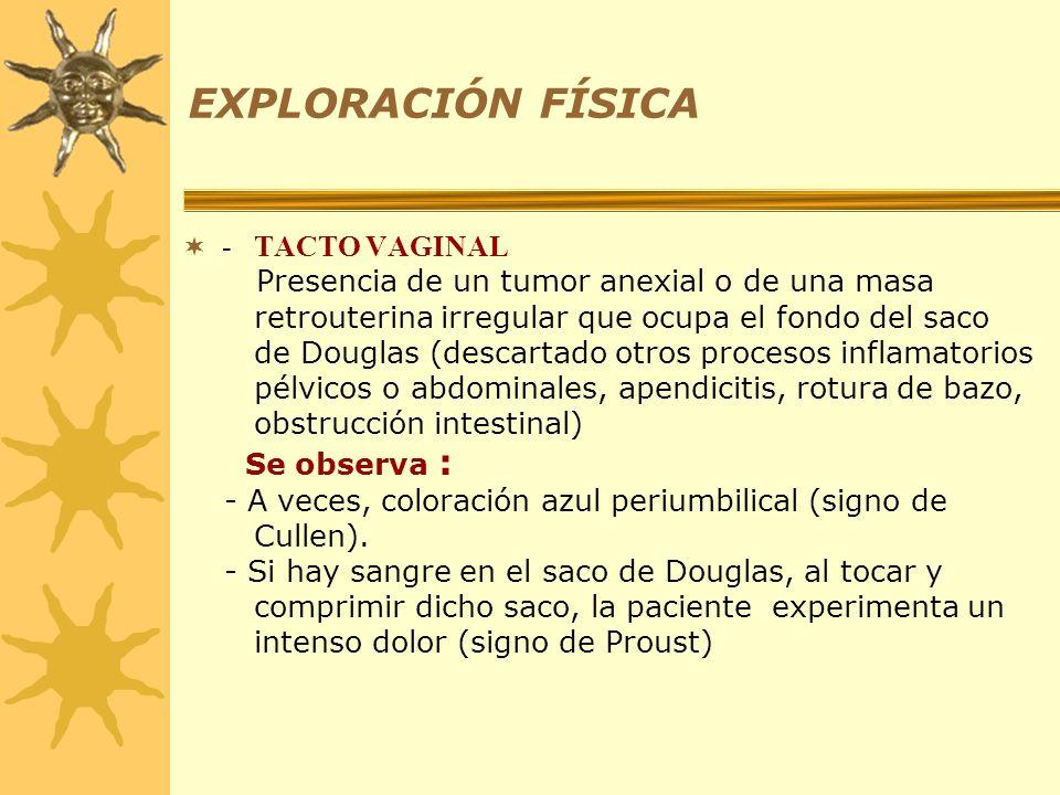 EXPLORACIÓN FÍSICA - TACTO VAGINAL Presencia de un tumor anexial o de una masa retrouterina irregular que ocupa el fondo del saco de Douglas (descarta