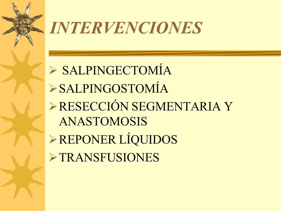 INTERVENCIONES SALPINGECTOMÍA SALPINGOSTOMÍA RESECCIÓN SEGMENTARIA Y ANASTOMOSIS REPONER LÍQUIDOS TRANSFUSIONES