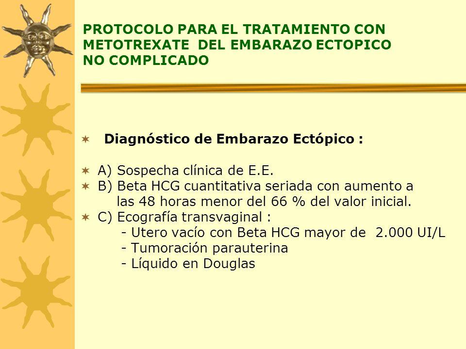 PROTOCOLO PARA EL TRATAMIENTO CON METOTREXATE DEL EMBARAZO ECTOPICO NO COMPLICADO Diagnóstico de Embarazo Ectópico : A) Sospecha clínica de E.E. B) Be