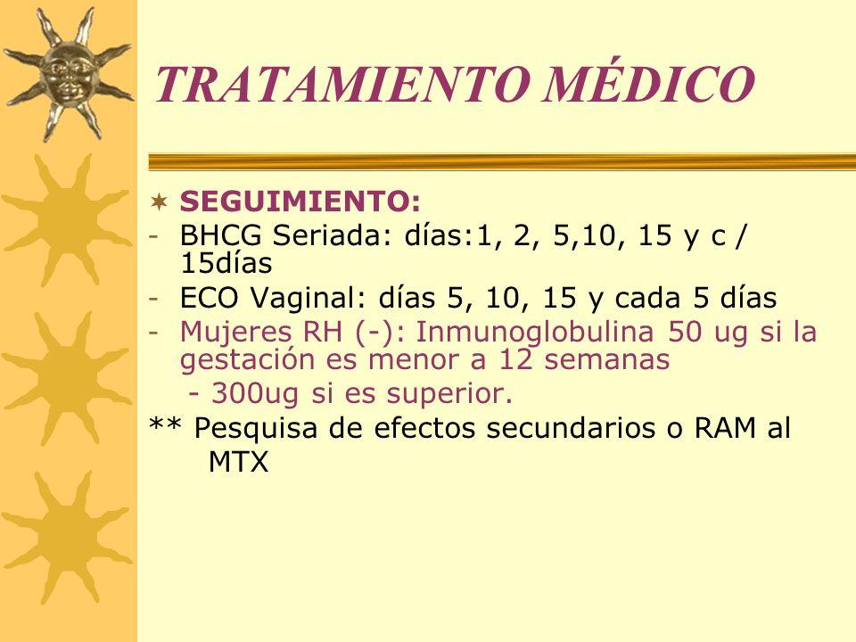 TRATAMIENTO MÉDICO SEGUIMIENTO: - BHCG Seriada: días:1, 2, 5,10, 15 y c / 15días - ECO Vaginal: días 5, 10, 15 y cada 5 días - Mujeres RH (-): Inmunog