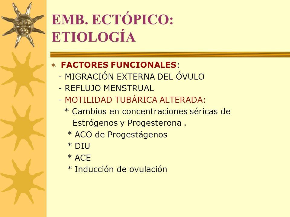 EMB. ECTÓPICO: ETIOLOGÍA FACTORES FUNCIONALES: - MIGRACIÓN EXTERNA DEL ÓVULO - REFLUJO MENSTRUAL - MOTILIDAD TUBÁRICA ALTERADA: * Cambios en concentra