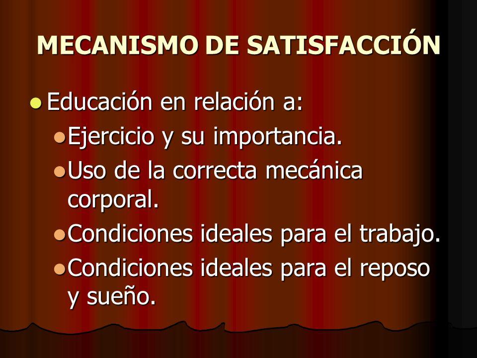 MECANISMO DE SATISFACCIÓN Educación en relación a: Educación en relación a: Ejercicio y su importancia. Ejercicio y su importancia. Uso de la correcta
