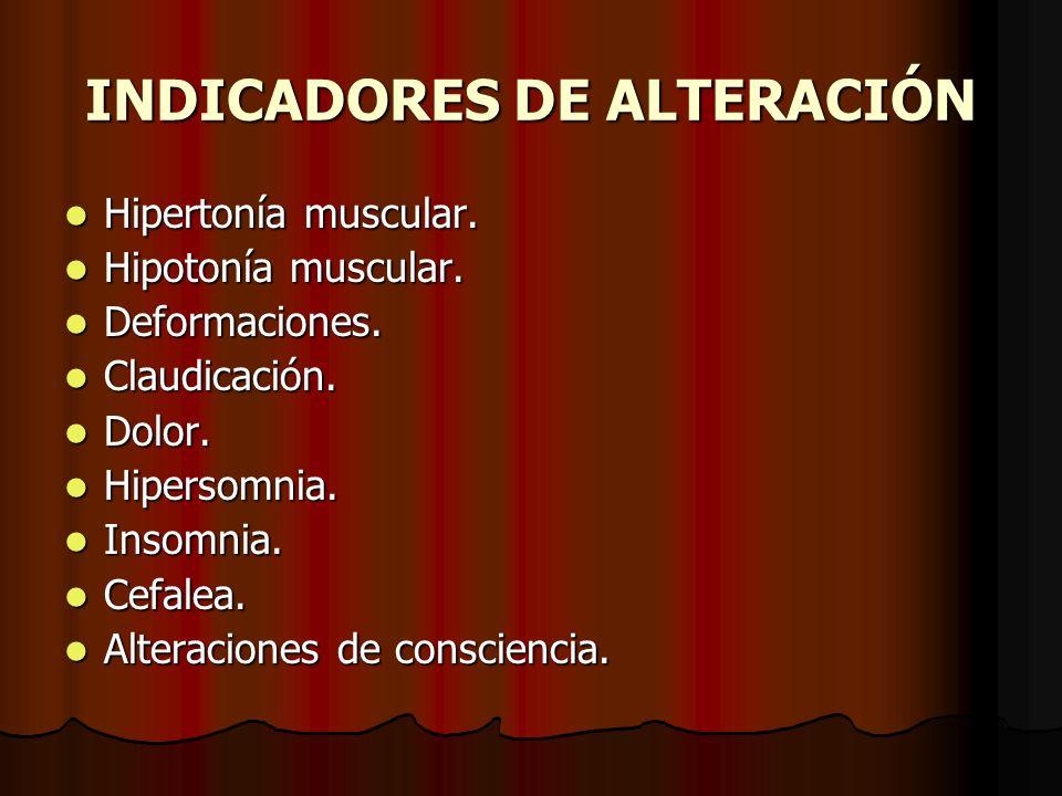 INDICADORES DE ALTERACIÓN Hipertonía muscular. Hipertonía muscular. Hipotonía muscular. Hipotonía muscular. Deformaciones. Deformaciones. Claudicación