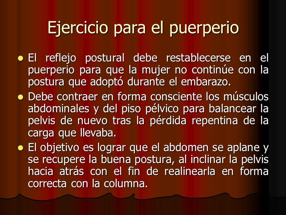 Ejercicio para el puerperio El reflejo postural debe restablecerse en el puerperio para que la mujer no continúe con la postura que adoptó durante el