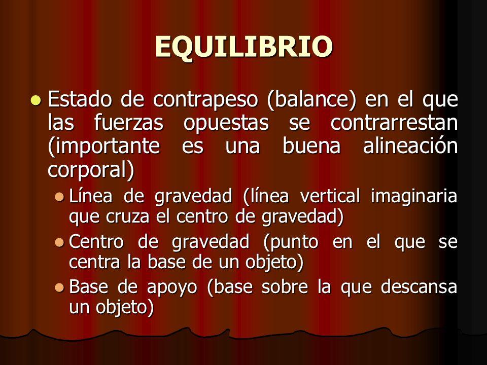 EQUILIBRIO Estado de contrapeso (balance) en el que las fuerzas opuestas se contrarrestan (importante es una buena alineación corporal) Estado de cont