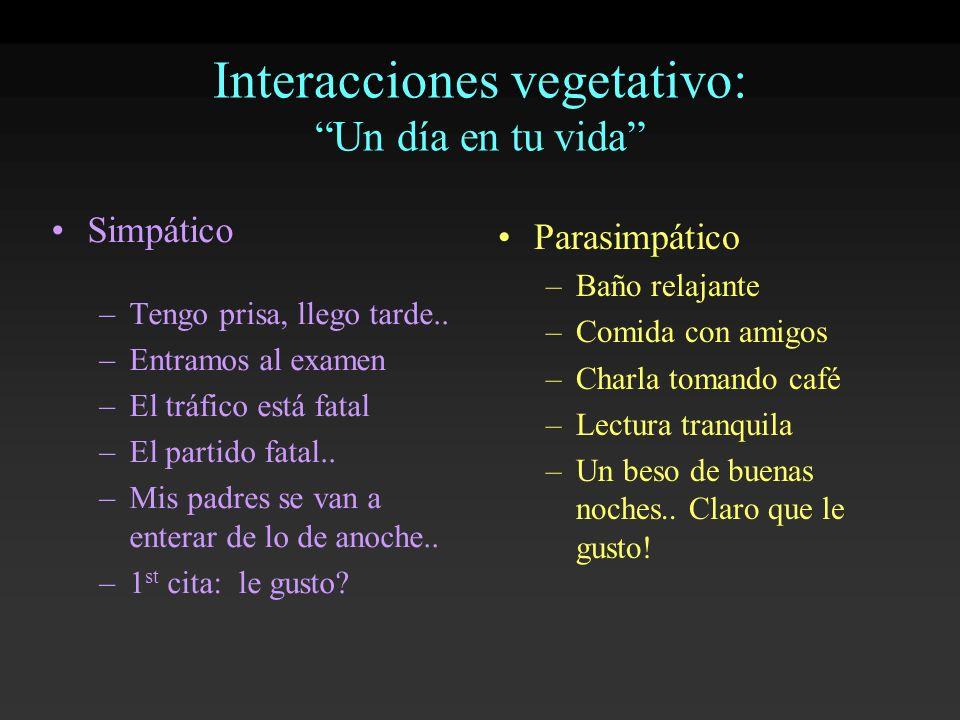 Interacciones vegetativo: Un día en tu vida Simpático –Tengo prisa, llego tarde.. –Entramos al examen –El tráfico está fatal –El partido fatal.. –Mis