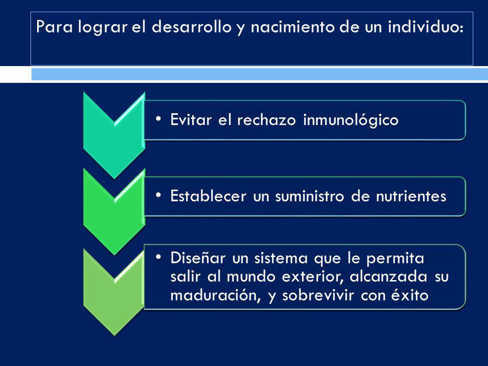 Evitar el rechazo inmunológico Establecer un suministro de nutrientes Diseñar un sistema que le permita salir al mundo exterior, alcanzada su maduraci