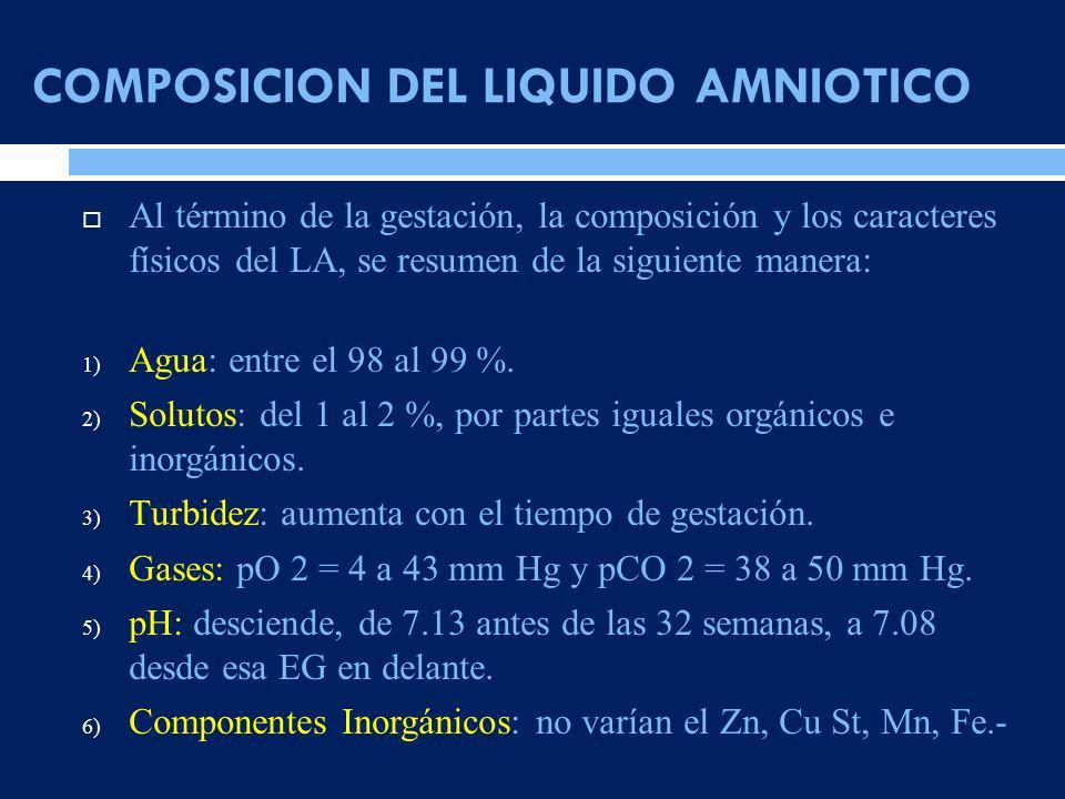 COMPOSICION DEL LIQUIDO AMNIOTICO Al término de la gestación, la composición y los caracteres físicos del LA, se resumen de la siguiente manera: 1) Ag