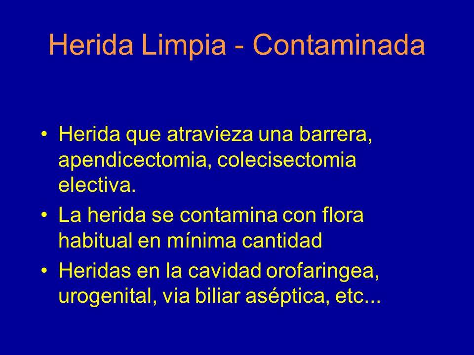 Herida Limpia - Contaminada Herida que atravieza una barrera, apendicectomia, colecisectomia electiva. La herida se contamina con flora habitual en mí