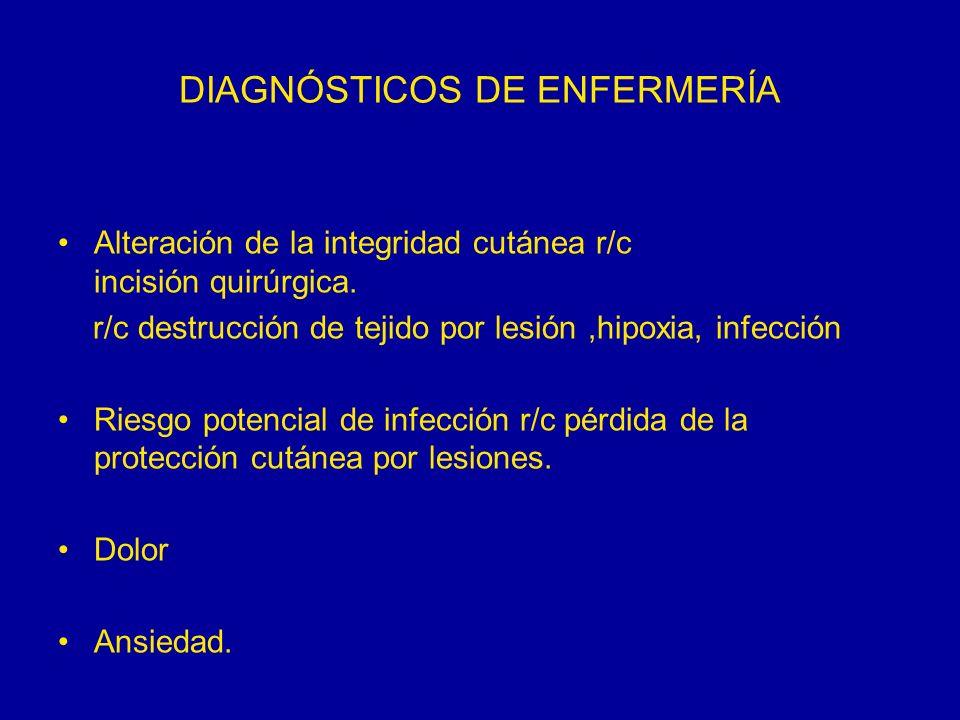 DIAGNÓSTICOS DE ENFERMERÍA Alteración de la integridad cutánea r/c incisión quirúrgica. r/c destrucción de tejido por lesión,hipoxia, infección Riesgo