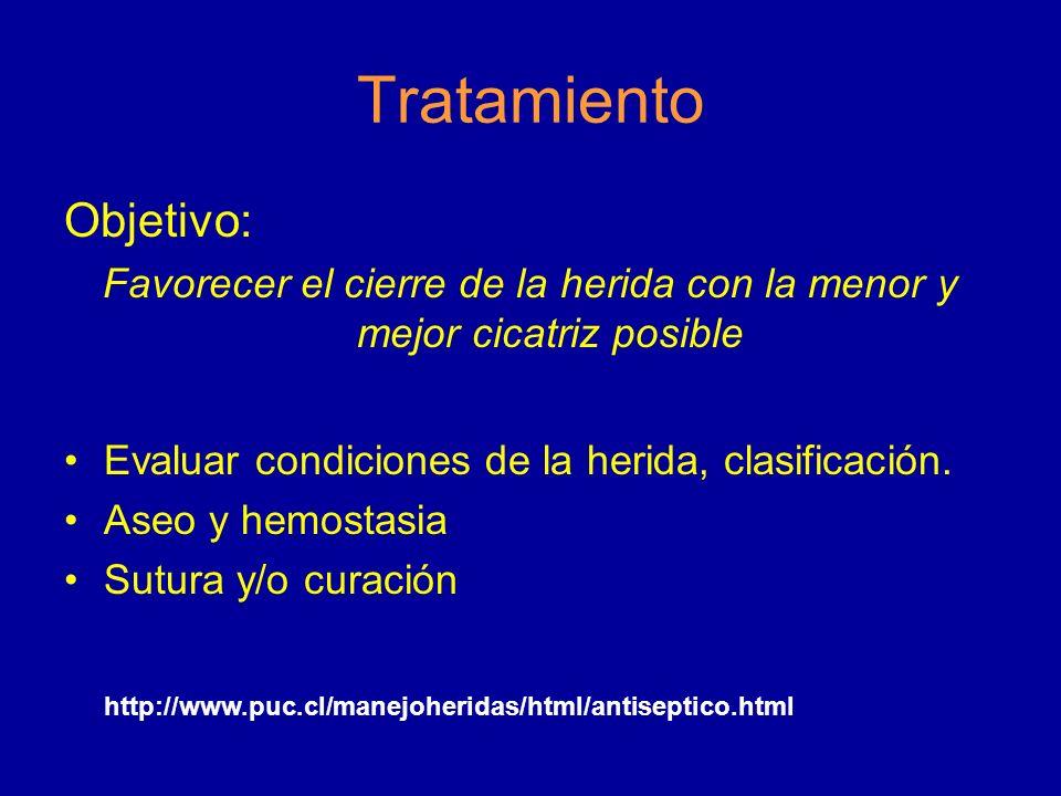 Tratamiento Objetivo: Favorecer el cierre de la herida con la menor y mejor cicatriz posible Evaluar condiciones de la herida, clasificación. Aseo y h