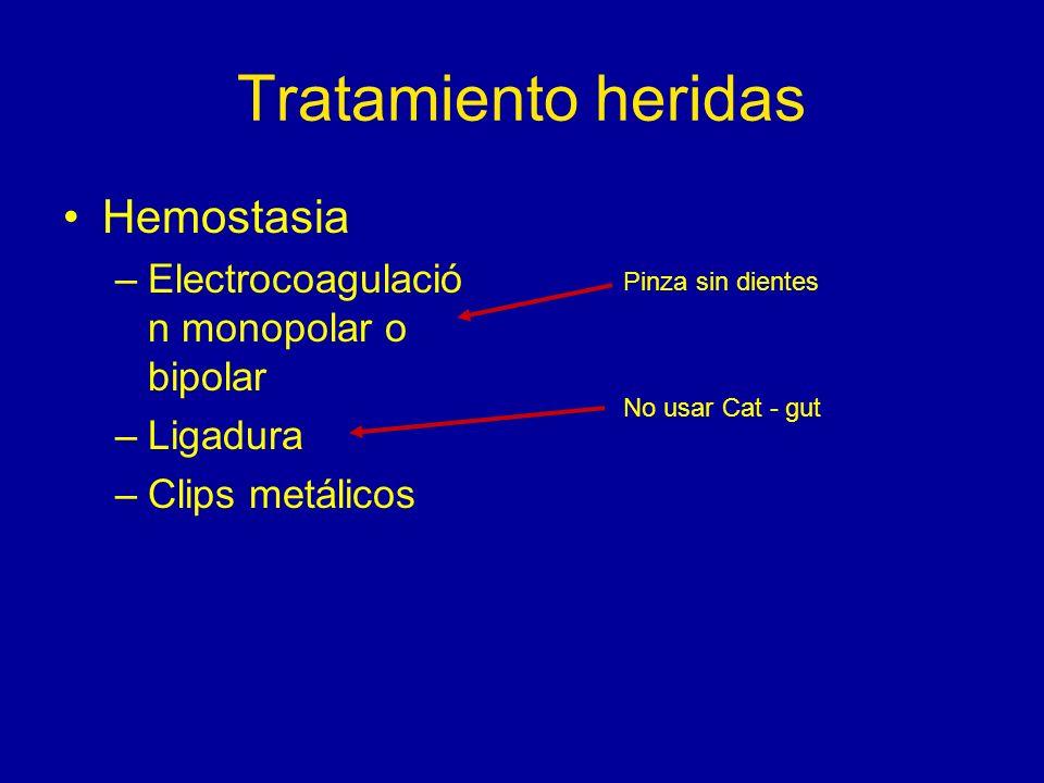 Tratamiento heridas Hemostasia –Electrocoagulació n monopolar o bipolar –Ligadura –Clips metálicos Pinza sin dientes No usar Cat - gut