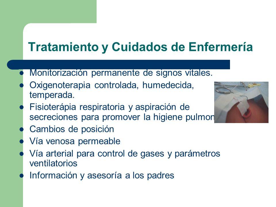 Tratamiento y Cuidados de Enfermería Monitorización permanente de signos vitales. Oxigenoterapia controlada, humedecida, temperada. Fisioterápia respi