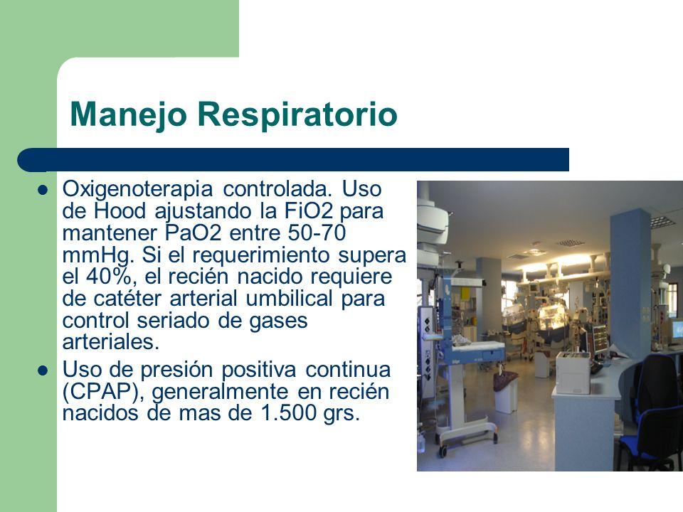 Manejo Respiratorio Oxigenoterapia controlada. Uso de Hood ajustando la FiO2 para mantener PaO2 entre 50-70 mmHg. Si el requerimiento supera el 40%, e