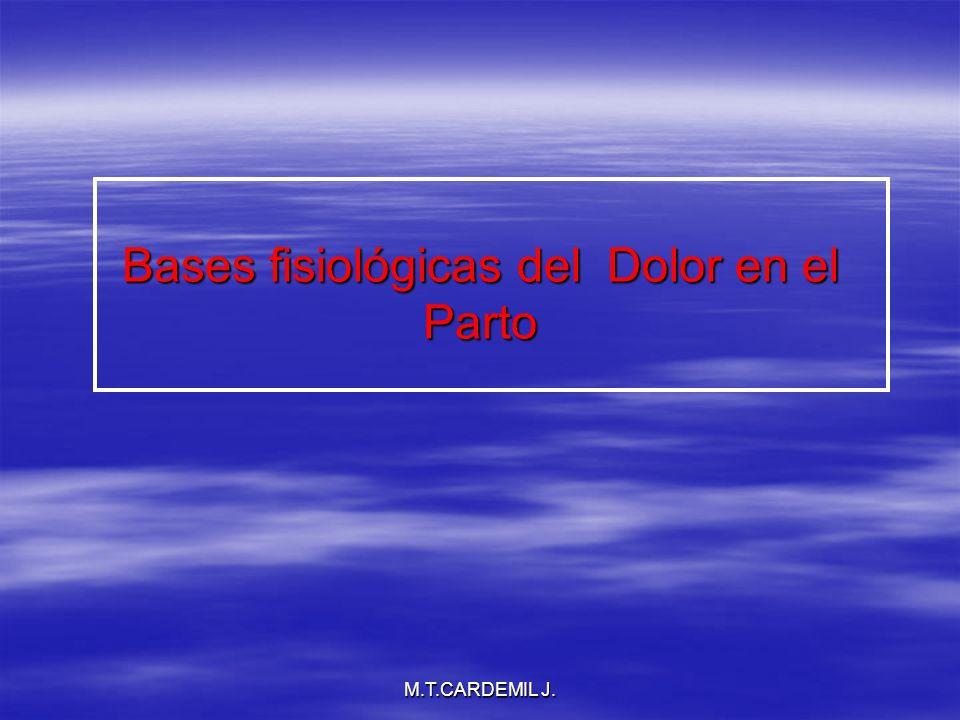 M.T.CARDEMIL J.Objetivos Recordar las bases fisiopatológicas del dolor obstétrico.