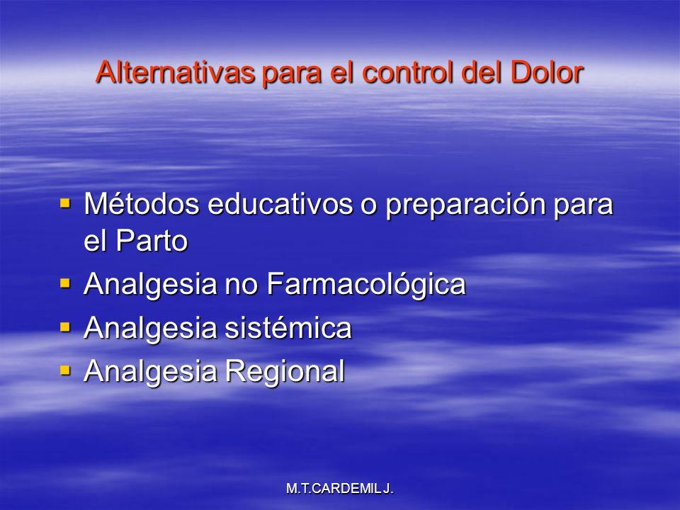 M.T.CARDEMIL J. Alternativas para el control del Dolor Métodos educativos o preparación para el Parto Métodos educativos o preparación para el Parto A
