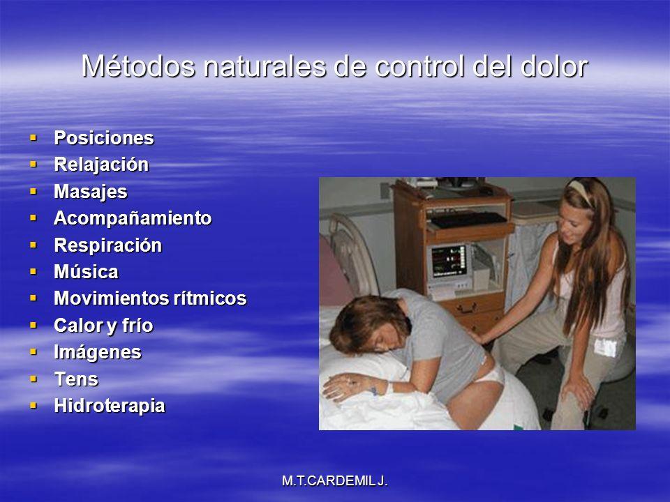 M.T.CARDEMIL J. Métodos naturales de control del dolor Posiciones Posiciones Relajación Relajación Masajes Masajes Acompañamiento Acompañamiento Respi