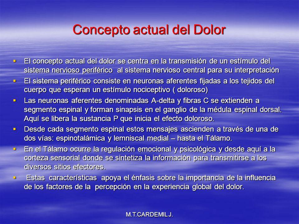 M.T.CARDEMIL J. Concepto actual del Dolor El concepto actual del dolor se centra en la transmisión de un estímulo del sistema nervioso periférico al s