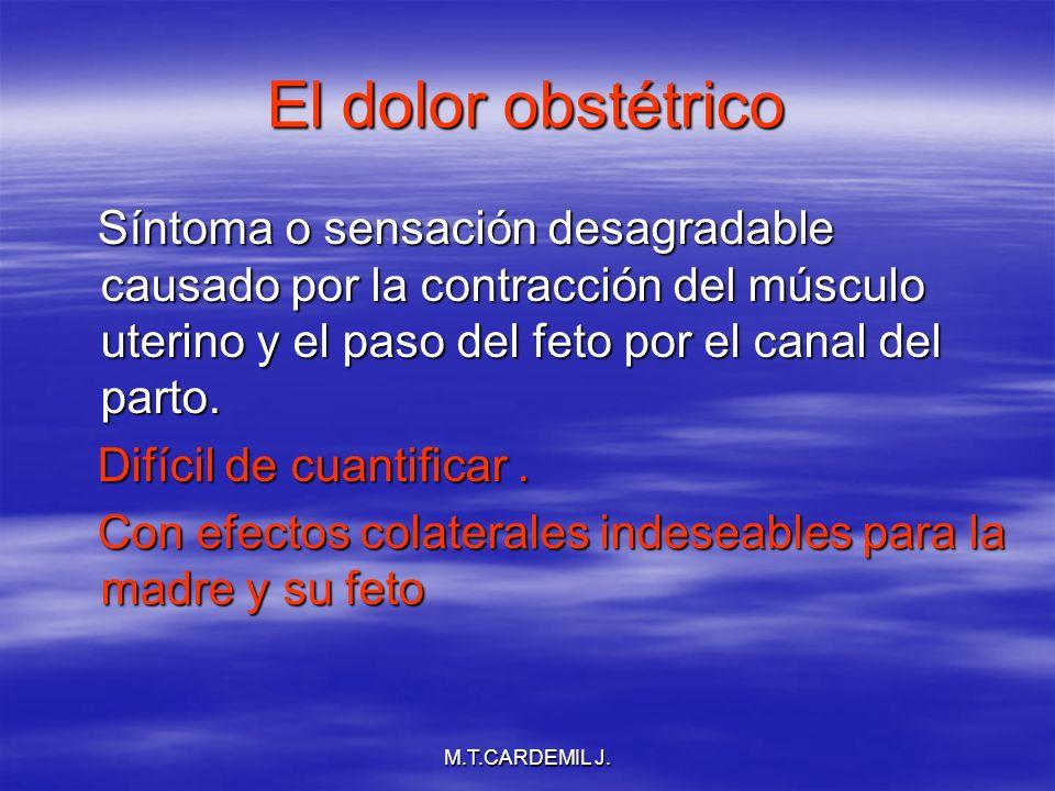 M.T.CARDEMIL J. El dolor obstétrico Síntoma o sensación desagradable causado por la contracción del músculo uterino y el paso del feto por el canal de