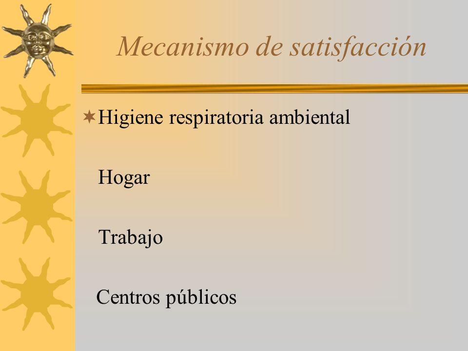 Mecanismo de satisfacción Higiene respiratoria ambiental Hogar Trabajo Centros públicos