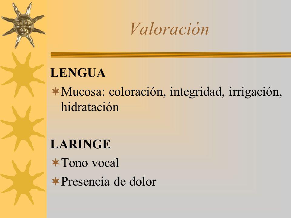 Valoración LENGUA Mucosa: coloración, integridad, irrigación, hidratación LARINGE Tono vocal Presencia de dolor