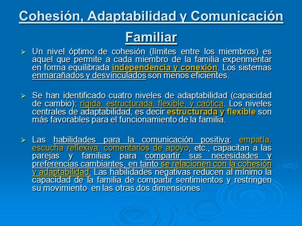 Cohesión, Adaptabilidad y Comunicación Familiar Un nivel óptimo de cohesión (límites entre los miembros) es aquel que permite a cada miembro de la fam