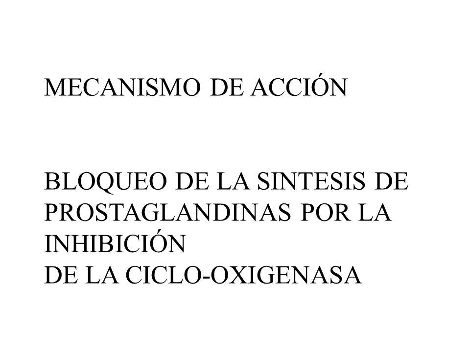 MECANISMO DE ACCIÓN BLOQUEO DE LA SINTESIS DE PROSTAGLANDINAS POR LA INHIBICIÓN DE LA CICLO-OXIGENASA