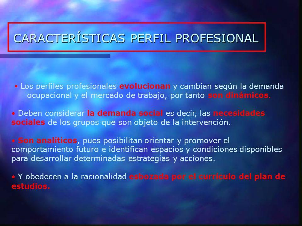 El Perfil Profesional Conjunto de orientaciones, disposiciones, conocimientos, habilidades y destrezas deseables y factibles que deben adquirirse para ejercer labores profesionales Refleja el Tipo de Persona que se quiere formar