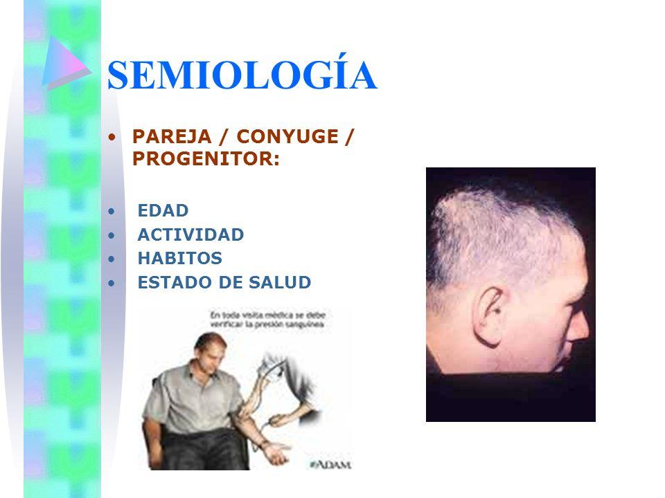 SEMIOLOGÍA PAREJA / CONYUGE / PROGENITOR: EDAD ACTIVIDAD HABITOS ESTADO DE SALUD