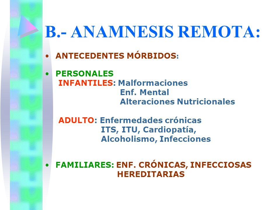 B.- ANAMNESIS REMOTA: ANTECEDENTES MÓRBIDOS : PERSONALES INFANTILES: Malformaciones Enf. Mental Alteraciones Nutricionales ADULTO: Enfermedades crónic