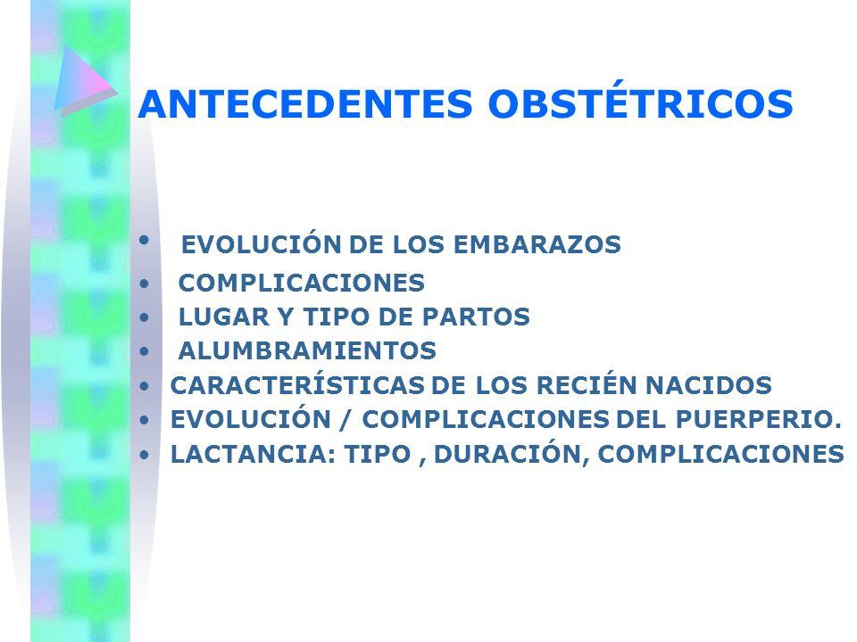 ANTECEDENTES OBSTÉTRICOS EVOLUCIÓN DE LOS EMBARAZOS COMPLICACIONES LUGAR Y TIPO DE PARTOS ALUMBRAMIENTOS CARACTERÍSTICAS DE LOS RECIÉN NACIDOS EVOLUCI