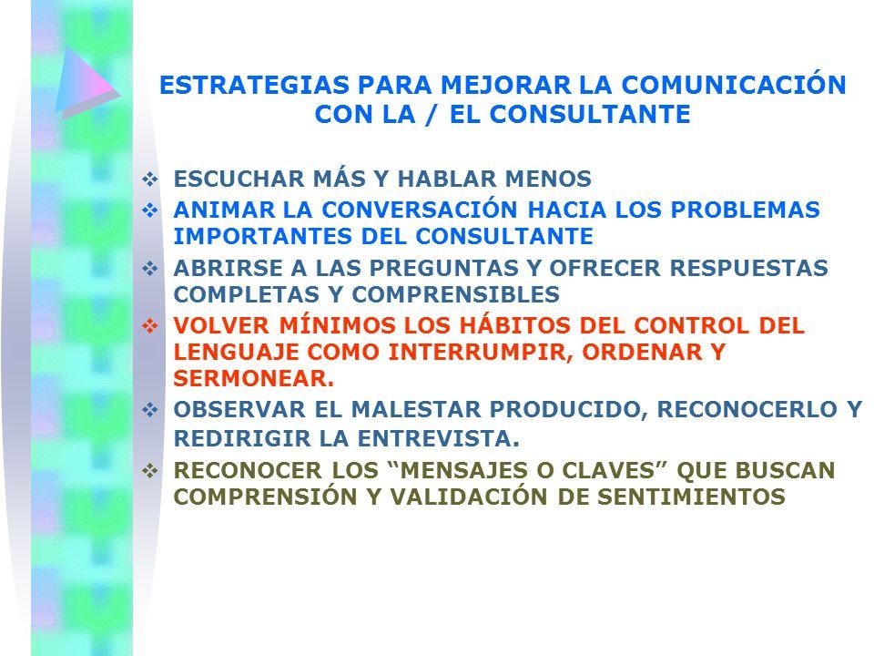 ESTRATEGIAS PARA MEJORAR LA COMUNICACIÓN CON LA / EL CONSULTANTE ESCUCHAR MÁS Y HABLAR MENOS ANIMAR LA CONVERSACIÓN HACIA LOS PROBLEMAS IMPORTANTES DE
