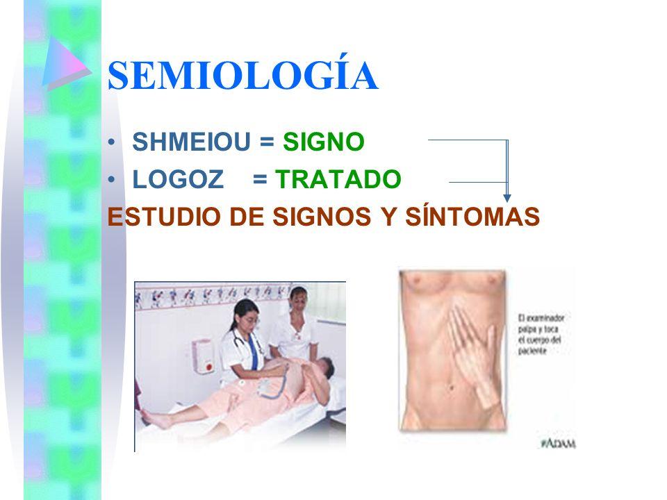 SEMIOLOGÍA SHMEIOU = SIGNO LOGOZ = TRATADO ESTUDIO DE SIGNOS Y SÍNTOMAS