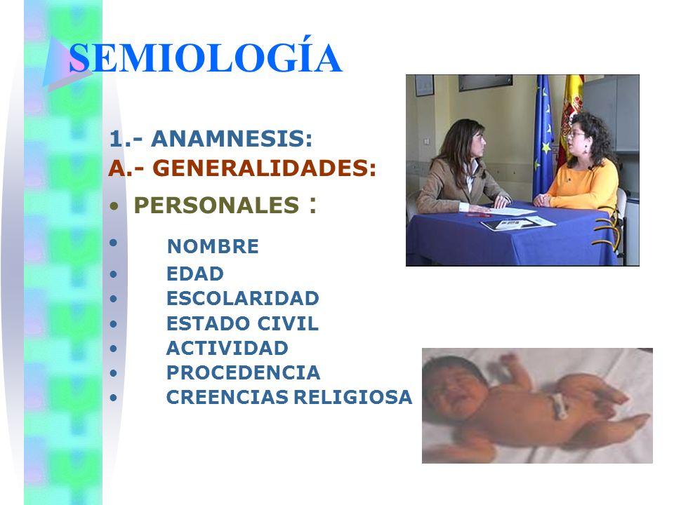 SEMIOLOGÍA 1.- ANAMNESIS: A.- GENERALIDADES: PERSONALES : NOMBRE EDAD ESCOLARIDAD ESTADO CIVIL ACTIVIDAD PROCEDENCIA CREENCIAS RELIGIOSA