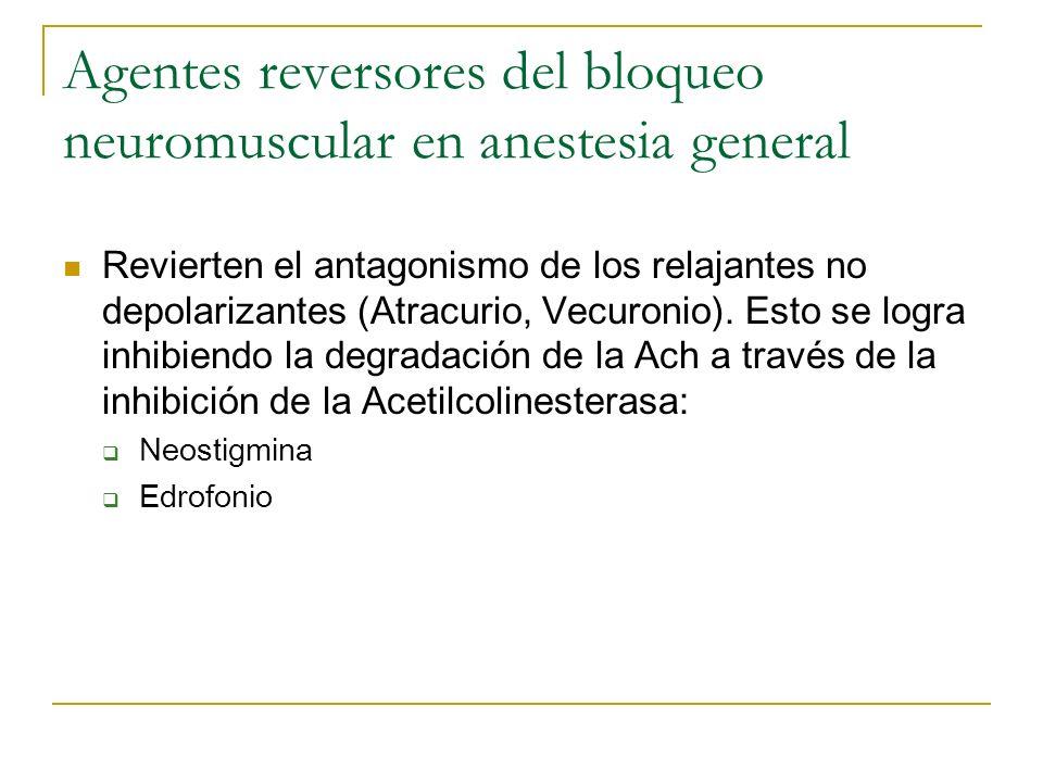 Agentes reversores del bloqueo neuromuscular en anestesia general Revierten el antagonismo de los relajantes no depolarizantes (Atracurio, Vecuronio).