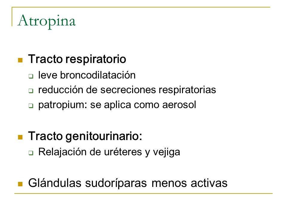Atropina Tracto respiratorio leve broncodilatación reducción de secreciones respiratorias patropium: se aplica como aerosol Tracto genitourinario: Rel