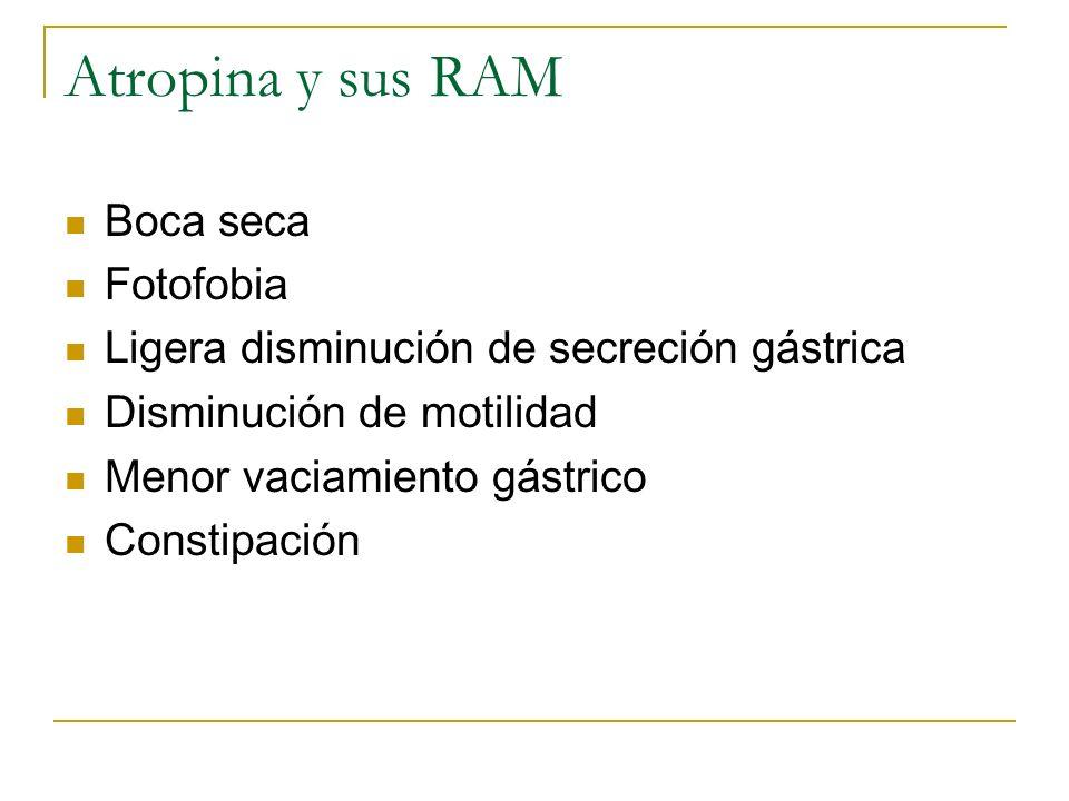 Atropina y sus RAM Boca seca Fotofobia Ligera disminución de secreción gástrica Disminución de motilidad Menor vaciamiento gástrico Constipación
