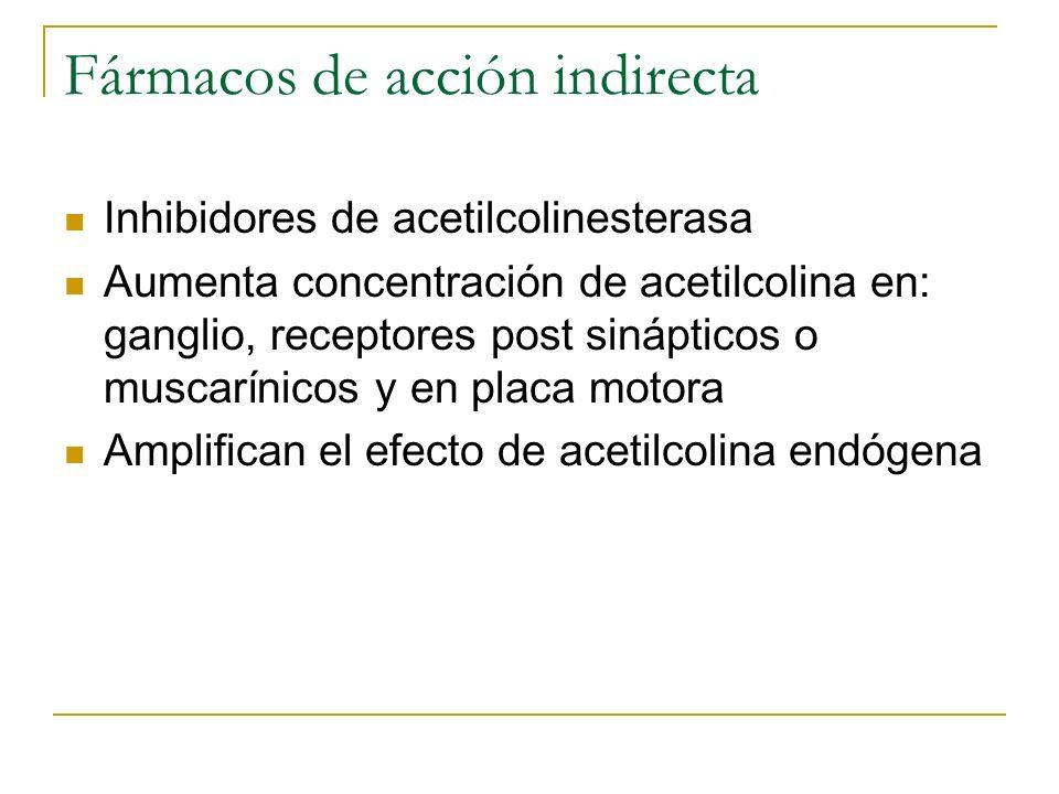 Fármacos de acción indirecta Inhibidores de acetilcolinesterasa Aumenta concentración de acetilcolina en: ganglio, receptores post sinápticos o muscar