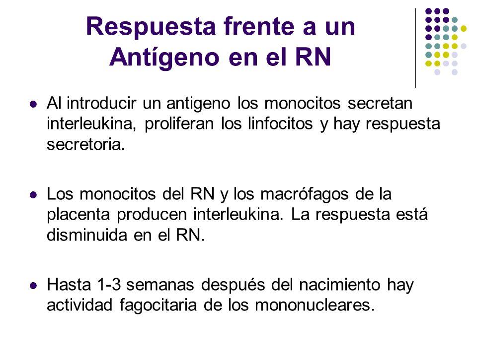 Respuesta frente a un Antígeno en el RN Al introducir un antigeno los monocitos secretan interleukina, proliferan los linfocitos y hay respuesta secre