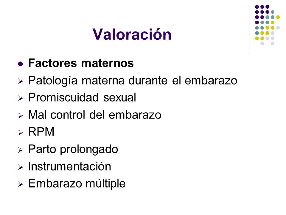 Valoración Factores maternos Patología materna durante el embarazo Promiscuidad sexual Mal control del embarazo RPM Parto prolongado Instrumentación E