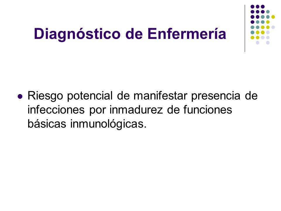 Diagnóstico de Enfermería Riesgo potencial de manifestar presencia de infecciones por inmadurez de funciones básicas inmunológicas.