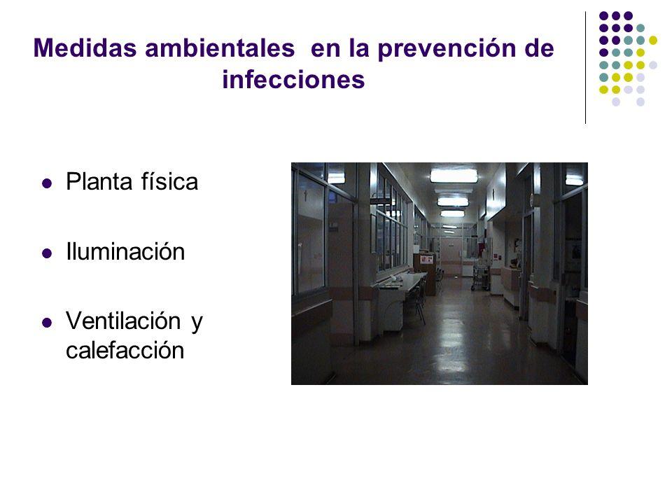Medidas ambientales en la prevención de infecciones Planta física Iluminación Ventilación y calefacción