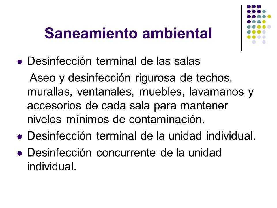 Saneamiento ambiental Desinfección terminal de las salas Aseo y desinfección rigurosa de techos, murallas, ventanales, muebles, lavamanos y accesorios