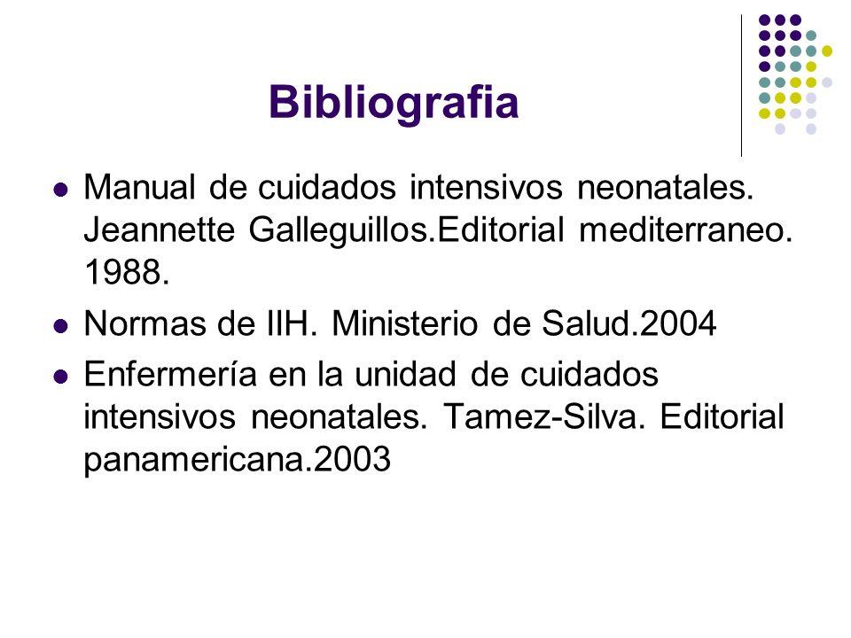 Bibliografia Manual de cuidados intensivos neonatales. Jeannette Galleguillos.Editorial mediterraneo. 1988. Normas de IIH. Ministerio de Salud.2004 En