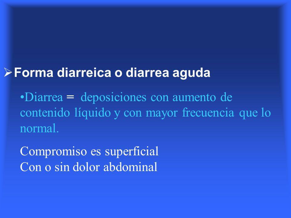 Forma diarreica o diarrea aguda Diarrea = deposiciones con aumento de contenido líquido y con mayor frecuencia que lo normal. Compromiso es superficia