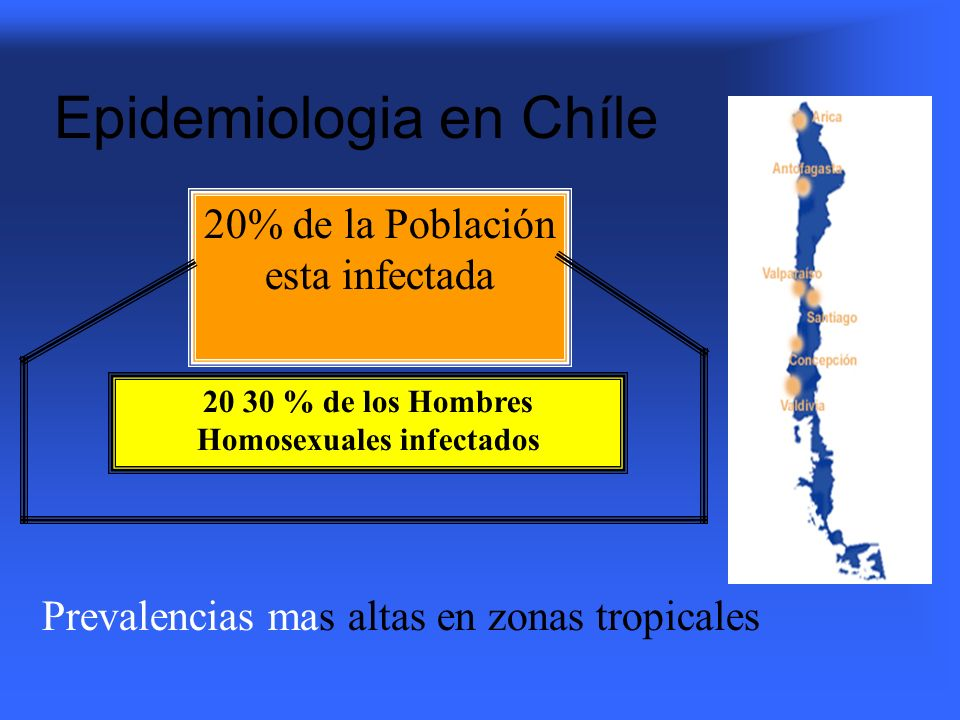 20% de la Población esta infectada 20 30 % de los Hombres Homosexuales infectados Prevalencias mas altas en zonas tropicales Epidemiologia en Chíle