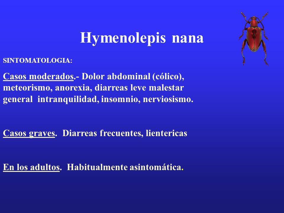 Hymenolepis nana SINTOMATOLOGIA: Casos moderados.- Dolor abdominal (cólico), meteorismo, anorexia, diarreas leve malestar general intranquilidad, inso