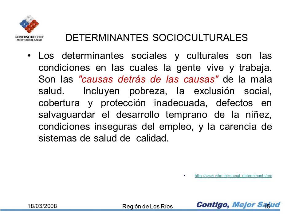 Región de Los Ríos15 18/03/2008 Región de Los Ríos15 Los determinantes sociales y culturales son las condiciones en las cuales la gente vive y trabaja